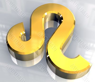 leo astrology symbol in gold - 3d made