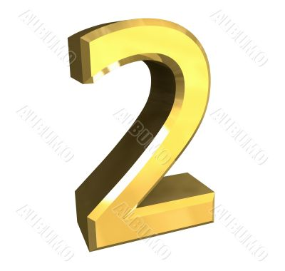 3d made - number 2 in gold