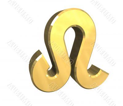 leo astrology symbol in gold - 3d made