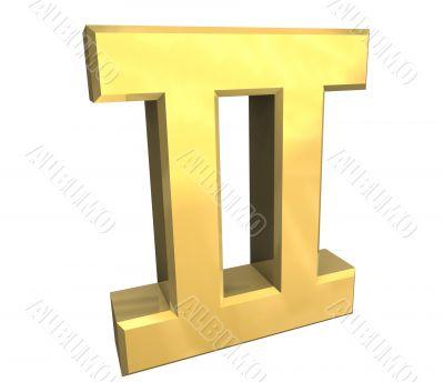 gemini astrology symbol in gold - 3d made