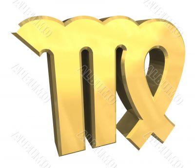 virgo astrology symbol in gold - 3d made