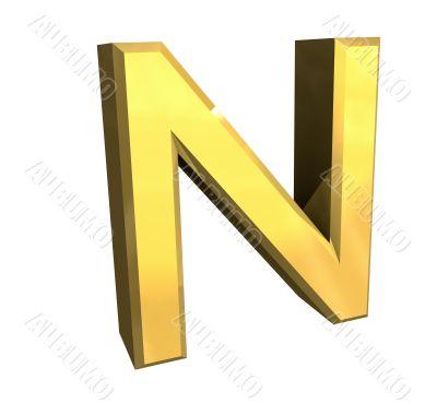 gold letter N - 3d made