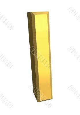 gold letter I - 3d made