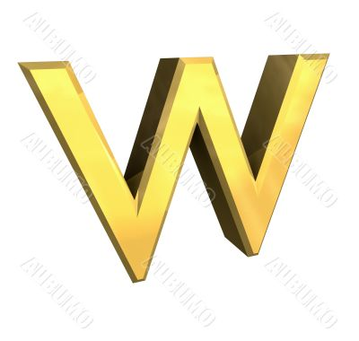 gold letter W - 3d made