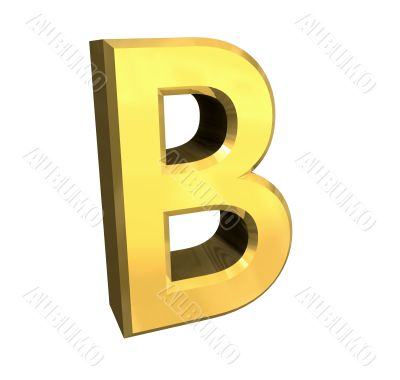 gold letter B - 3d made