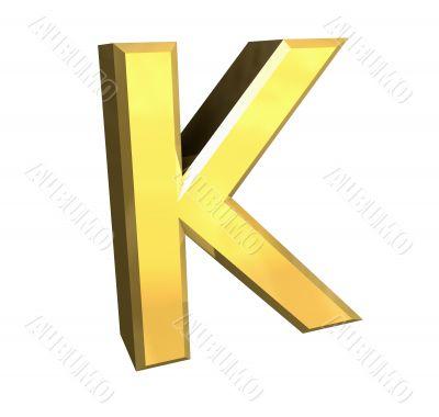 gold letter K - 3d made