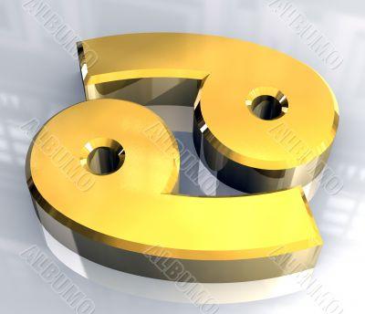 cancer astrology symbol in gold - 3d made