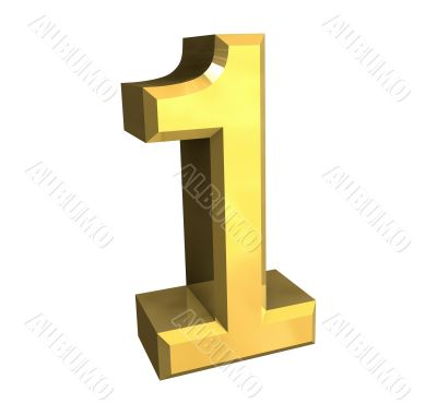 3d made - number 1 in gold