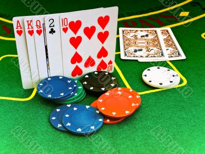 cards and chips in casino