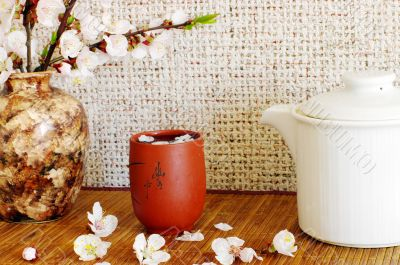 tea with apricot flowers