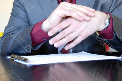 Businessman  hands explaining