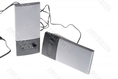 speakers on white
