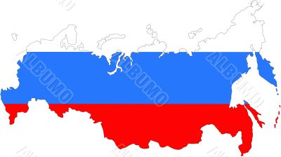 The contour of the Russian Federation