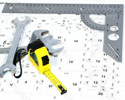 The metal ruler and wiring diagram.