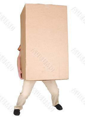 Man holding very heavy brown cardboard box