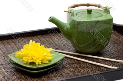 Bamboo tray, green ceramic teapot