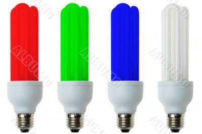 RGB fluorescent light bulbs
