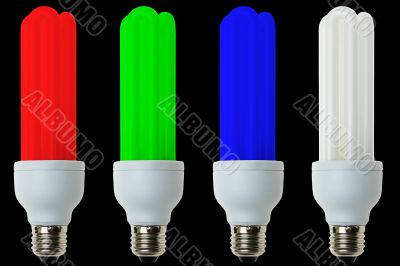 RGB fluorescent light bulbs