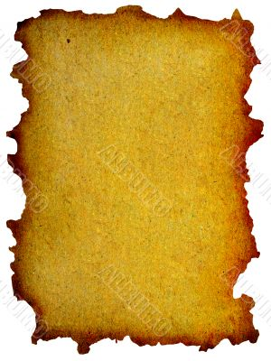 grunge mint yellow paper with burned edges