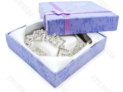 Necklace earrings in the gift box