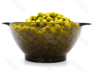 green preserved pea in the glass bowl