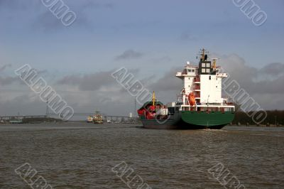 Container ship at the Kiel canal