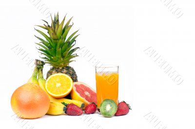 Assorted fruits and juice