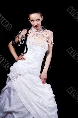 smiling bride in white