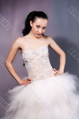 young bride in white
