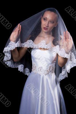 dark hair woman in wedding dress