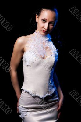 young dark hair girl in white dress