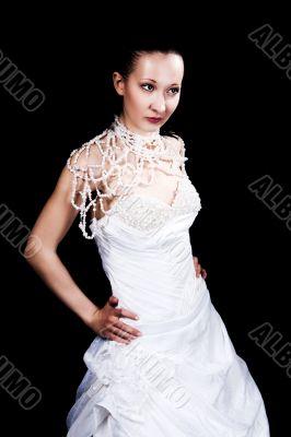 dark hair girl in wedding dress