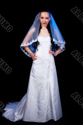 smiling bride in white dress