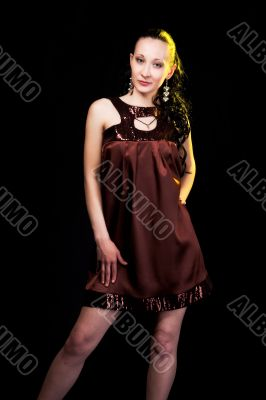pretty girl in brown evening dress