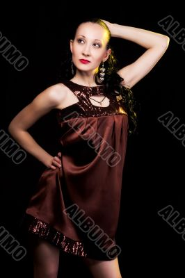 girl in evening dress looking up