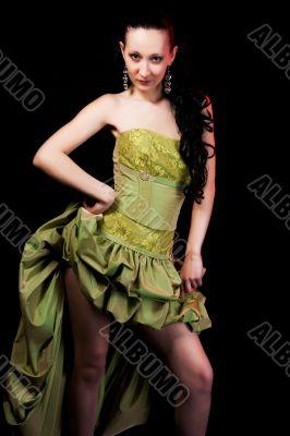 girl in green evening dress