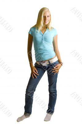 young beautiful blond teenage girl posing