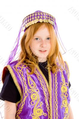 portrait of a young girl dressed up in an arabian suit