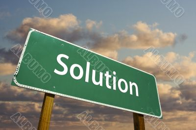 Solution Green Road Sign
