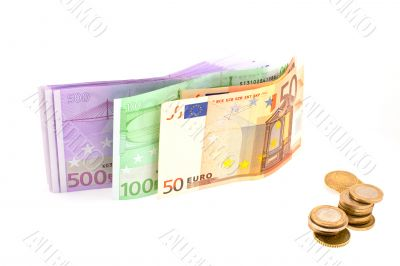 euro in banknotes and coins