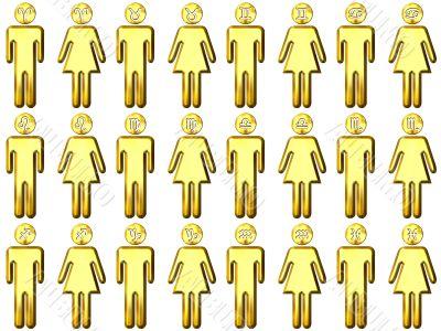 3D Golden Zodiac People