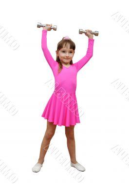 girl dumb-bells pink sport