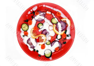Healthy food plate pizza