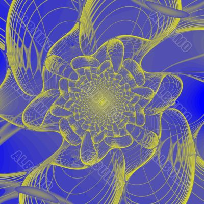 Abstract gold & blue fractal background