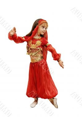 a girl dances east dance on a white background
