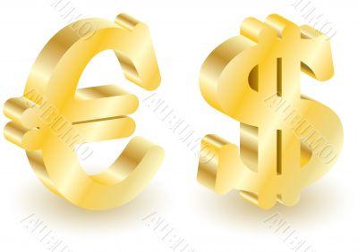 Dollar and euro money 3d symbols.