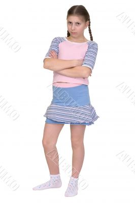 Offended girl isolated on a white background