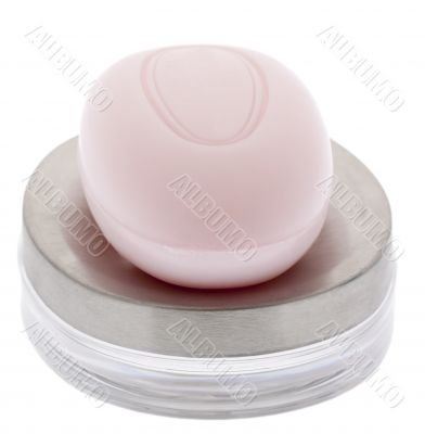 pink soap with soap bowl