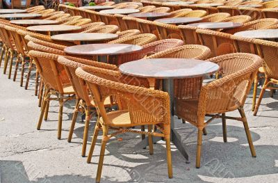 chairs and tables in row