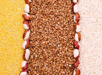Millet, buckwheat, rice background